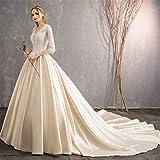 LYJFSZ-7 Brautkleid,Damen Prinzessin Rückenfreies Stilvolles Brautkleid Mit Ärmeln Perfekte Linie Große Lange Schleppend Weiß Und Champagner