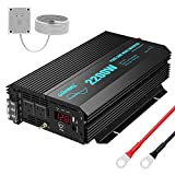 Pure Sine Wave Power Inverter 2200Watt DC 12volt to AC 120volt with Dual AC Outlets and 2.4A USB Port & LED Display Remote Controller for RV Trucks Boats and Emergency【3 Years Warranty】