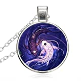 Women Small Round Disc Ying And Yang Fish DomeGlass Cabochon Jewelry Pendant Necklace Gift for Women