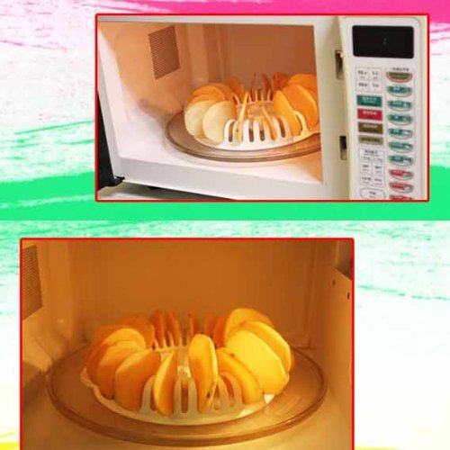 Whitelotous Potato Chips Baking Tray Microwave Oven Fat Free Potato Chips Maker Home Baking Tool