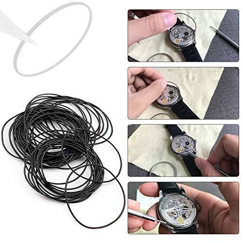 Caja trasera del reloj Sellos impermeables Anillo duradero para reloj Herramienta de reparación de relojes para todos los tamaños de más de 12 mm a 30 mm Material de caucho Anillo(0.6mm)