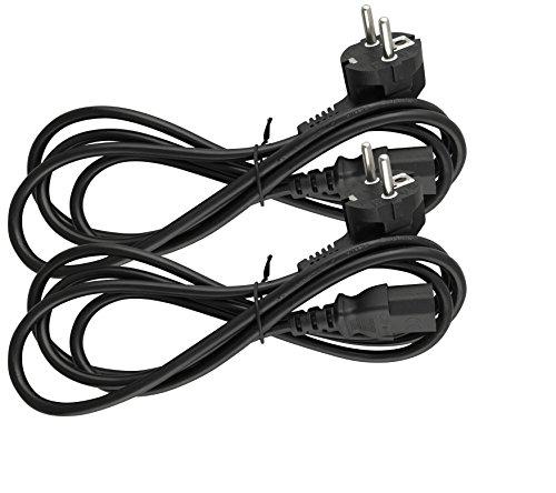 Naths Hardware® | 2x Kaltgerätekabel 1,8m | Kaltgerätestecker auf Schutzkontakt gewinkelt | PC Netzkabel 3 Polig | Netzteil Kabel C13 für Computer Monitor Bildschirm Drucker Beamer
