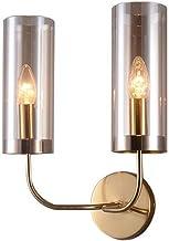 Ybzx Wandlamp in postmoderne stijl, wandkunst van ijzer en glas dubbele kop wandlamp wandlampen voor huis, bar, restaurant...