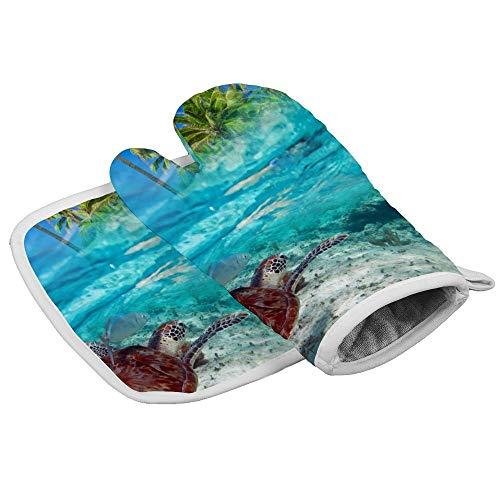 Groene schildpad zwemmen op Tropical Island of Caribbean Sea Oven wanten en pannenlappen hittebestendige oven Mitt anti-slip handschoenen voor koken bakken grill