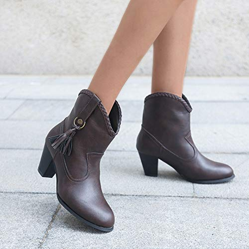 Botas de mujer de tacón alto con flecos, aumento de la calidez, botas de vaquero occidental, botas de tobillo cortas Chelsea, café, 40 EU