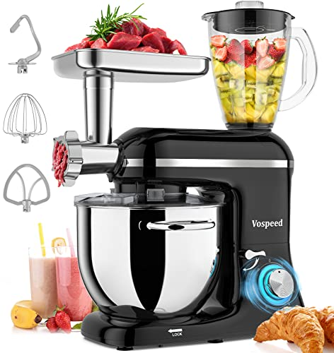 Vospeed 5 IN 1 Stand Mixer, 850W Tilt-Head Multifunctional Electric Mixer with 7.5 QT Stainless Steel Bowl, 1.5L Glass Jar, Meat Grinder, Hook, Whisk, Beater Dishwasher Safe (Black)