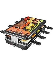 AONI Elektryczny grill do raclette, bezdymny, elektryczny grill z nieprzywierającą powierzchnią do grillowania, regulacja temperatury 1200 W, nadaje się do mycia w zmywarce, dla całej rodziny