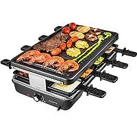 aoni electric raclette grill smokeless grill elettrico bbq grill con superficie antiaderente alla griglia, 1200w di controllo della temperatura, lavabile in lavastoviglie, serve tutta la famiglia