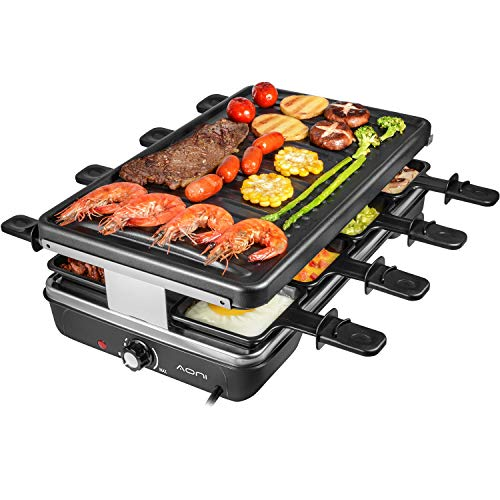 AONI Raclette Table Grill, Electric Korean BBQ Grill Indoor Cheese Raclette for 8 Person, Removable Non-Stick Surface, Temperature Control & Dishwasher Safe, 1200W
