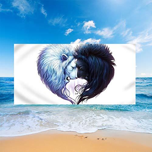 Serviette de Plage Microfibre Rectangle 3D Animal Lune Feu Loup Baleine Couverture Imprimée Yoga Gym En Plein Air Sport Serviette Robe pour Adultes Enfant Cadeau D'été (Lion 1,150 * 180 cm)