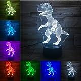(Solo 1) Dinosaurio 3D luz nocturna táctil control remoto base 7 tipos de cambio de color increíble óptica visual regalo para niños regalo de cumpleaños decoración