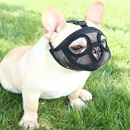 IBLUELOVER Maulkorb gegen Beißen, verstellbar, kurze Schnauze für Hunde, atmungsaktives Netz-Maulkorb für Pitbull, Boston Terrier, Chow-Chow-Chow zum Beißen, Kauen und Bellen