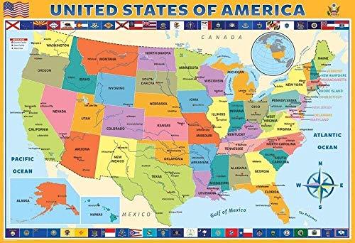 Murosn Puzzle 3D 1000 Piezas 8 Años Adultos Infantiles Educa Madera Arte Paisajes Placeres Decoracion Regalos Mujer Personalizado Mapa De Estados Unidos