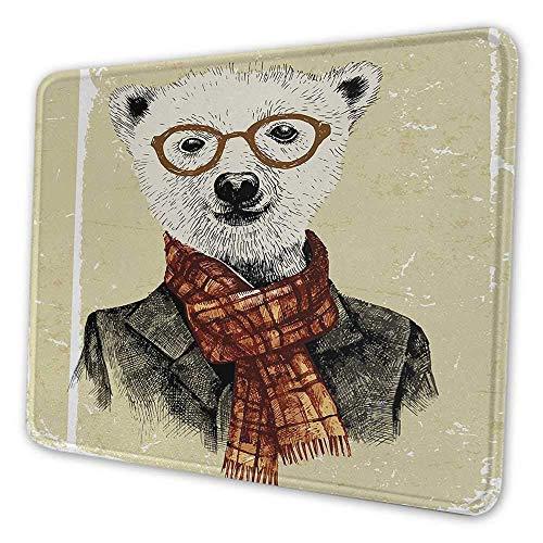 Tier personalisierte Mauspad Hipster Bär mit Brille Schal Jacke wilde Säugetier humorvolle Kunstwerk Mauspad für Frauen Schreibtisch Creme dunkelorange schwarz, Es