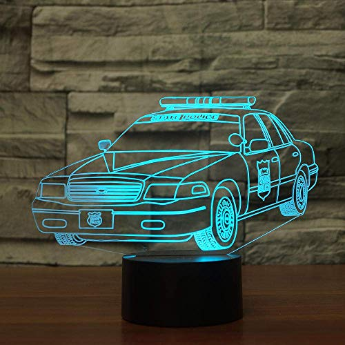 3D Illusion Lamp Led Night Light Police Cars Beside Help Children Fell Safe at Remote Control Table Lamp 7 Colors