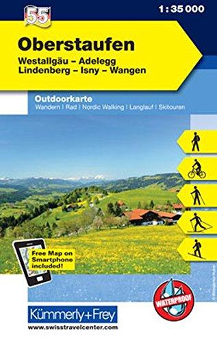 Oberstaufen Outdoorkarte Deutschland Nr. 55: Westallgäu, Andelegg, Lindenberg, Isny, Wangen, 1:35 000, Mit kostenlosem Download für Smartphone (Kümmerly+Frey Outdoorkarten Deutschland)