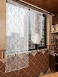 Qucover Tendine per Finestra Trasparenti, Voile Tenda da Vetro con Motivo Floreale, Decorazione per Cucina Balcone Bistrot Camera, Stile Vintage, Bianco, 75x180cm