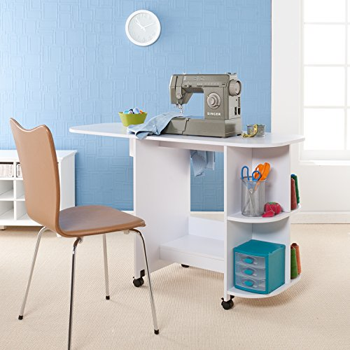 SEI Furniture Eaton Expandable Rolling Craft Station Sewing Table, White