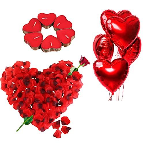 Kit Romantico di Candele e Petali. 50 Candeline a Forma di Cuore + 1000 Petali di Rosa di Seta + 5...
