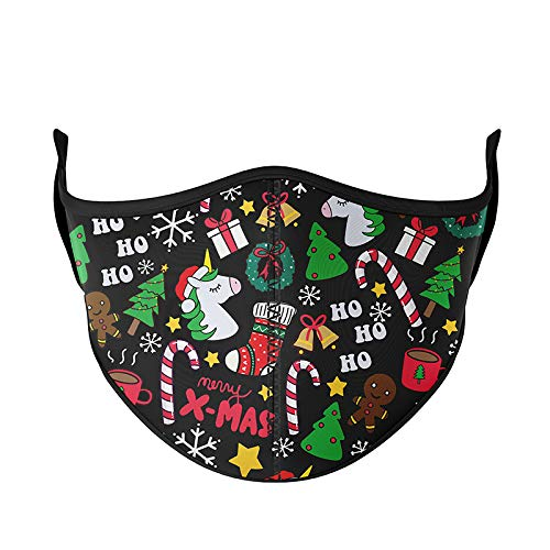 Top Trenz Mask Made with Stretch Cloth for Everyday Indoor/Outdoor Use - Black Christmas - Kids Ages 3-7
