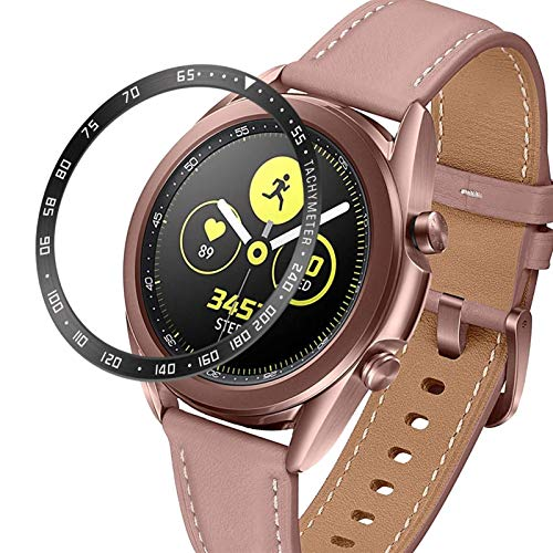 FAAGFC Para Samsung Galaxy Watch 3 41 mm 45 mm bisel anillo cubierta protectora adhesiva anti arañazos bisel de acero inoxidable (color de la correa: negro, ancho de la correa: 41 mm)