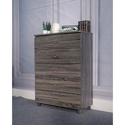 Benzara Capacious Gray Finish Chest with 5 Drawers On Metal Glides.
