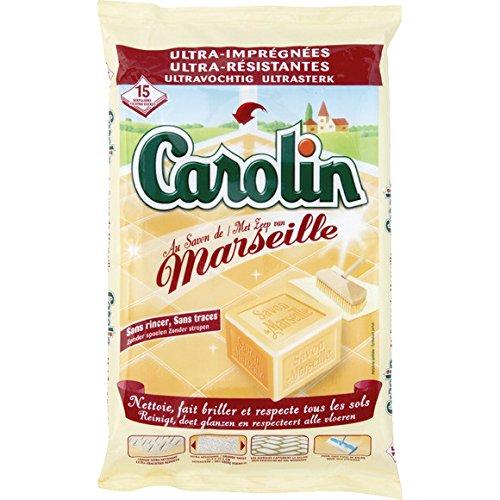 Carolin - Lingettes ultra imprégnées, ultra résistantes au savon de Marseille - Le paquet de 15 serpillères - (pour la quantité plus que 1 nous vous r