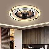 WRQING Deckenleuchte mit Ventilator, Deckenventilator mit dimmbarer LED Beleuchtung und Fernbedienung, Fan Light Leise mit Lüfterflügel aus ABS [Energieklasse A+] (Color : Black)