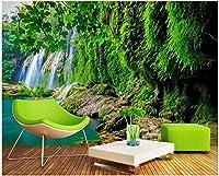 MAZF カスタム写真壁画3D壁紙山の滝緑の森の風景の装飾リビングルームの3D壁壁画壁紙350cm(B)x 260 cm(H)