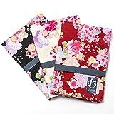 和柄 和風 ハンカチ 日本製 綿100% 約53cm×約52cm 和風柄 (D.花 3枚 セット)