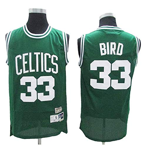 XSJY Jersey Men's NBA Boston Celtics # 33 Larry Bird Cool Tela Transpirable Bordado Jerseys Retro, Unisex Baloncesto Fan Uniforme,A,L:175~180cm/75~85kg