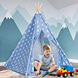 Kids Teepee Play Tent for Girls and Boys with Cute Star+Mat+Carry Bag,Natural Cotton Canvas Teepee Playhouse Toys for Baby Toddler and Children Indoor and Outdoor Play Games--ASTM Certified