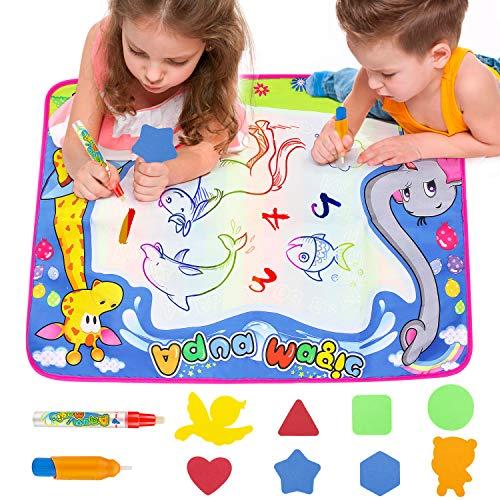 Laelr Wasser-zeichnungs-Matte, Wasser Doodle mat 70 x 51 cm gemälde Wiederverwendbare Aqua Magic mat mit 6 Formen und 2 Magie pens lernspielzeug