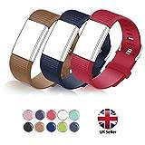 STAY Active Correas de Recambio para Fitbit Charge 2, Reloj Inteligente y Deportivo para Mujer y Hombre   Marca del Reino Unido - Diamante de Silicona (Marrón, Azul y Roja – Pequeña)