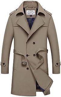 JIANYE Trench Coat Uomo Giacca Lungo Classico Leggero Cappotto Trench vestibilità Slim Trench con Cintura