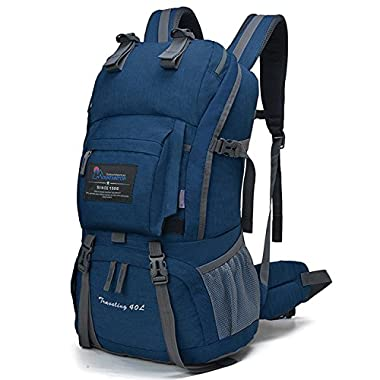 Mountaintop 40 Liter Hiking Backpack for Outdoor Camping (Sky blue2)