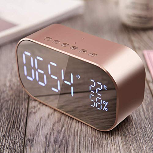 Preisvergleich Produktbild LED-Digitalwecker,  tragbarer Spiegelwecker,  großes LED-Display mit SNOOZE-Zeit-Temperatur-Nachtlicht für Schlafzimmer,  Wohnzimmer,  Büro,  Stromversorgung über USB, Rosegold