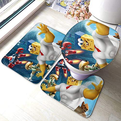 Bobo-Shop badmat, 3-delig, badmat, antislip, zacht, badmatje + contourbekleding + wc-deksel