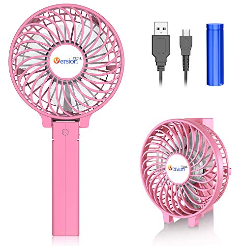 VersionTECH. Mini Handheld Fan, USB Desk Fan, Small Personal Portable Table Fan with USB Rechargeable Battery Operated Cooling Folding Electric Fan for Travel Office Room Household Pink