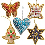 Handmade Christmas Tree Ornaments Decorations (Set of 5) idea Home Decor Navy Star, Blue Heart, Gold Tree, White Crown, Red Butterfly