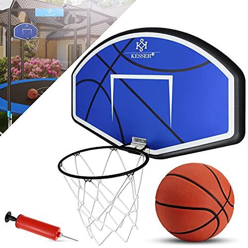 KESSER® Basketballkorb-Set Wandmontage mit Netz Basketball Backboard für Kinder Basketballbrett inklusive Ball Ballpumpe Wandhalterung Korb und Netz Basketballring Indoor Outdoor Blau