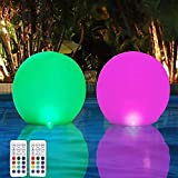 4. HORAVA Floating Pool Lights with Timer Remote(RF), 16inch Inflatable Waterproof RGB 16 Colors LED Glow Ball Lights,Pool Accessories for Adults,Hot Tub Bath Toys for Swimming Wedding Decor(2 PCS)