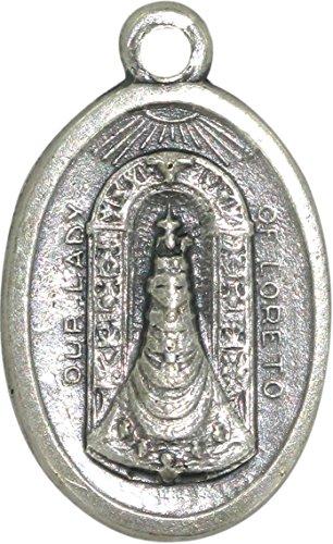Ferrari & Arrighetti Medalla Virgen de Loreto de Metal Oxidado - 2,5 x 1,5 cm (Paquete de 10 Piezas)