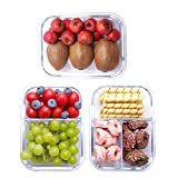 1 & 2 & 3 Compartment Glass Meal Prep Containers 3 Piece(36 Oz),Glass Food Storage Containers with Snap Locking Lids,Airtight LeakProof Glass Lunch Box Containers,Freezer-to-Oven Safe Lunch Containers