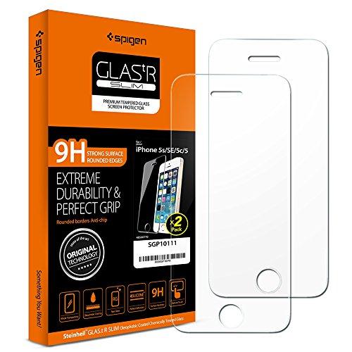 Spigen Panzerglas kompatibel mit iPhone SE, iPhone 5S, iPhone 5, 2 Stück, Kratzfest, 9H Härte Schutzfolie