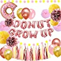 Donut Party Supplies - Donut Grow Up Balloons Banner Rose Gold, 18 Latex Balloons, Pink Rose Gold Yellow Tissue Pom Poms Paper Flowers for Baby Shower Donut Grow Up Birthday Party Decorations from urwonderbox