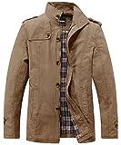 Wantdo Men's Cotton Military Jacket Lightweight Coat Khaki Medium