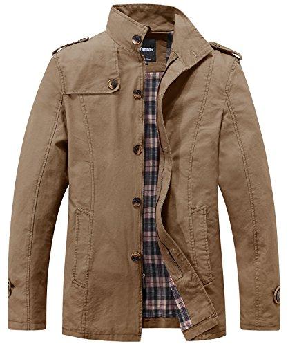 Wantdo Men's Classic Coat Miltary Stand Collar Windbreaker Jacket(Khaki,Large)