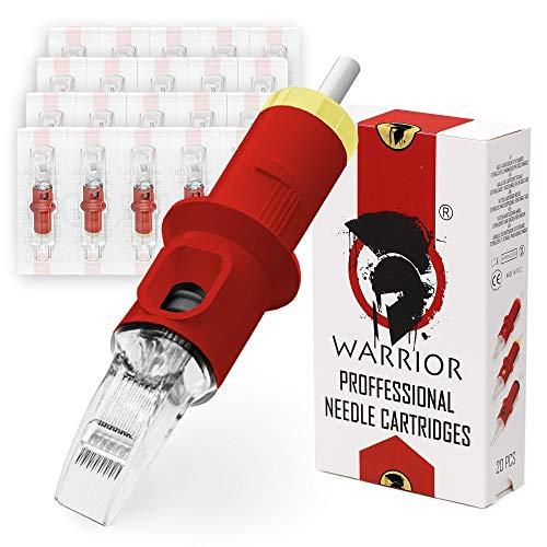 WARRIOR Rojo Cartuchos de agujas de tatuaje profesionales Tattoo Needle Cartridge esterilizado Big Magnum M1 20 piezas Acero quirúrgico 316L Maquillaje Permanente Desechable (RED-1011M1)