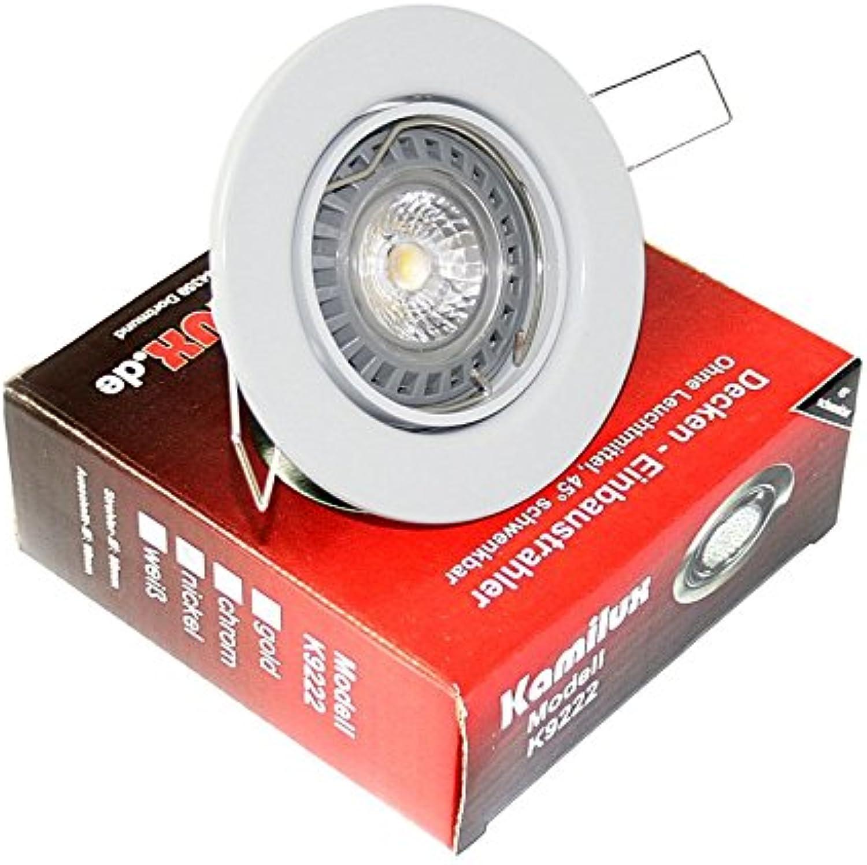 4er Set 230V Downlight Einbauleuchte Einbauspot Einbauring Lia Farbe  Weiss DIMMBAR Lichtfarbe  Warmweiss GU10 5W Power LED = 50 Watt